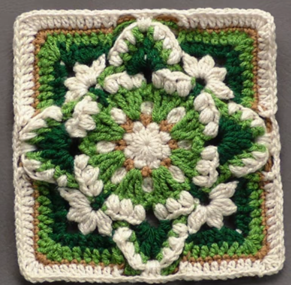 Snowdrops And Butterflies Granny Square
