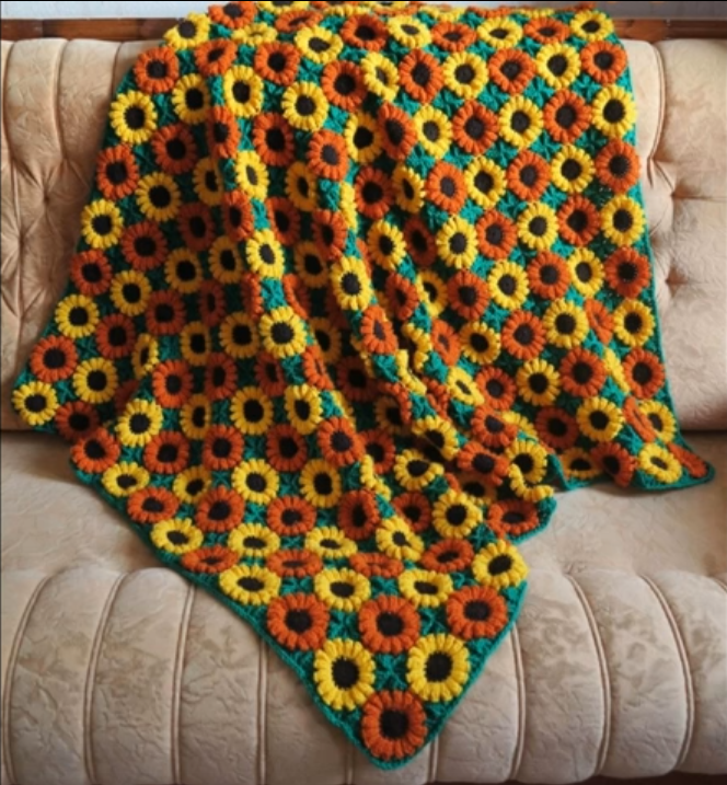 Afghan Blanket With Flowers