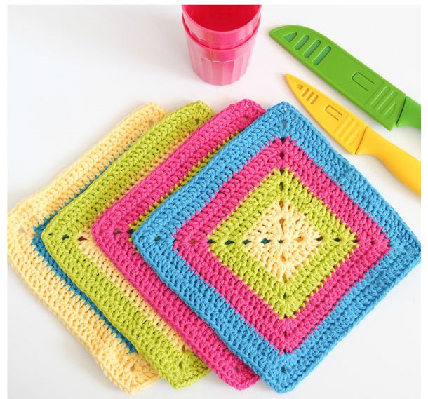 Colorful Granny Square Dishcloth Pattern