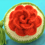 Rose Flower 3 D Crochet Purses