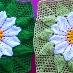 Crochet Flower Square For Blankets And Pillows