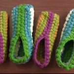 Crochet Colored Slippers With Puff Braids