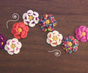 Crochet 3D Bobble Flower