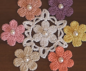 Crochet Flower Applique Motif