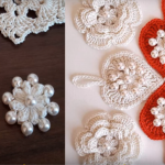 Crochet Flower And Heart With Pearls