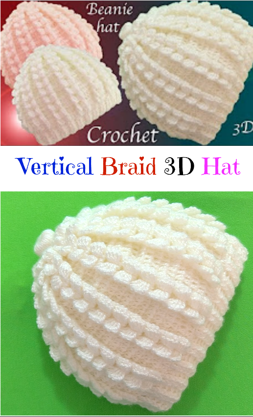 In today s video tutorial we are going to show you how to crochet vertical  braid 3D hat 578bb9d6f68