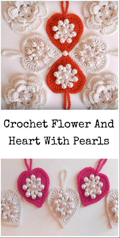 crochet heart and flower