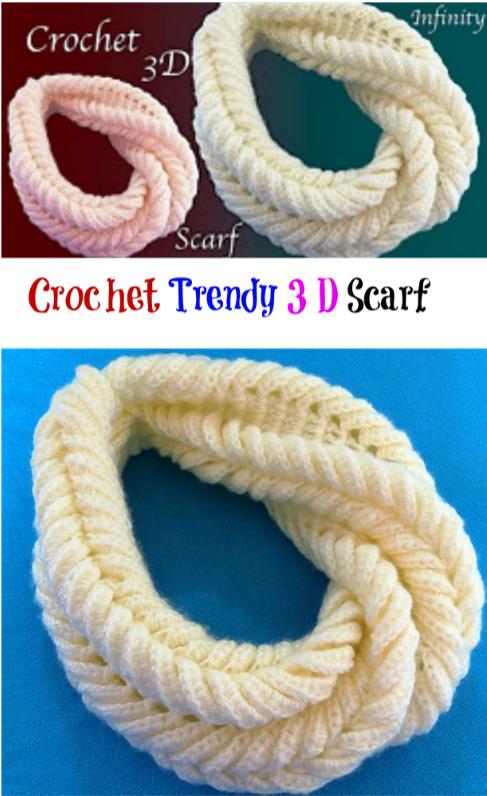 crochet trendy 3d scarf