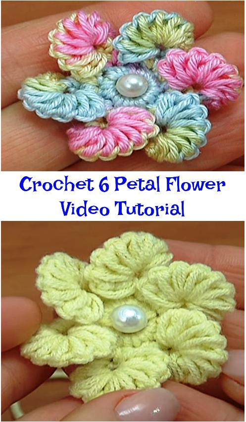 Crochet 6 Petal Flower Video Tutorial Crochet Ideas