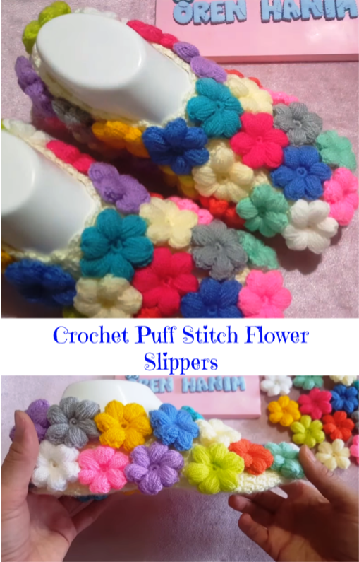 crochet flower slippers