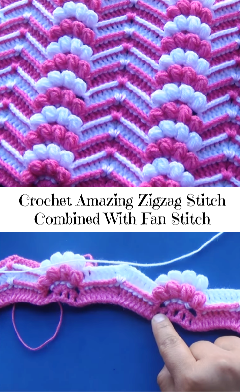 zigzag stitch combined with fan stitch
