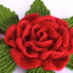 Crochet 3D Flower With Leaves