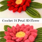 Crochet 24 Petal 3D Flower