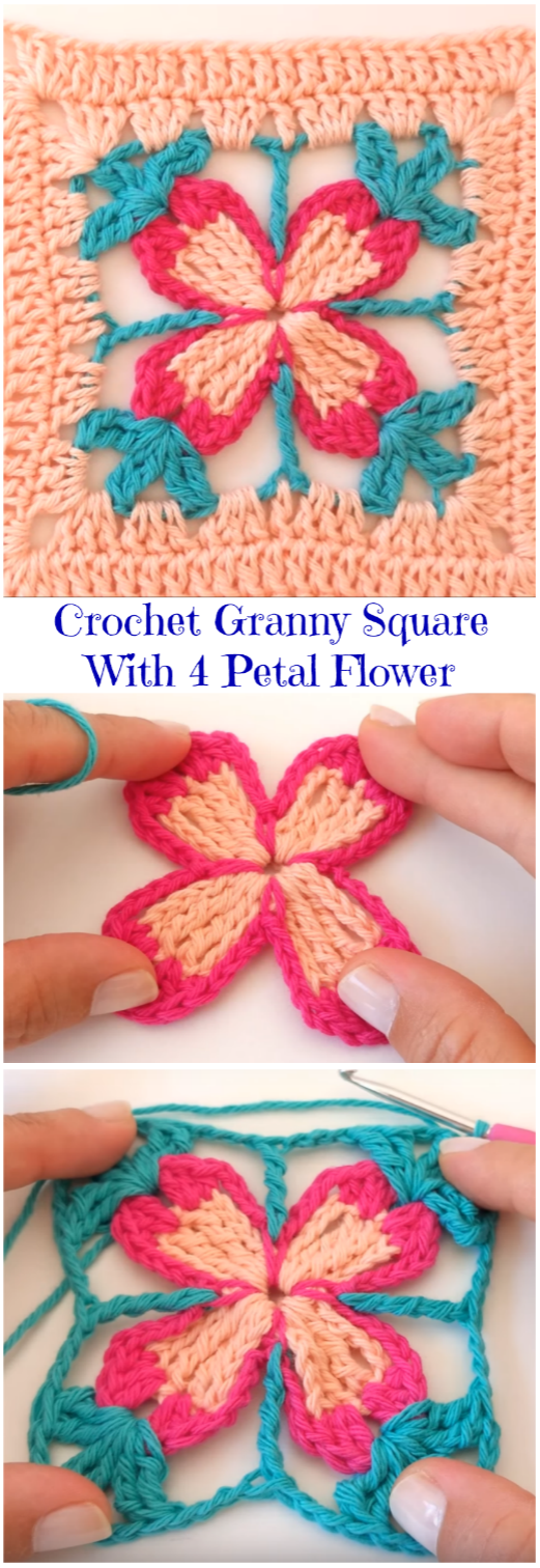 4 petal flower granny square