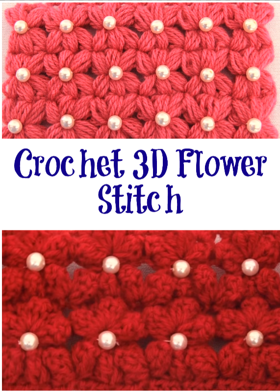 crochet 3d flower stitch