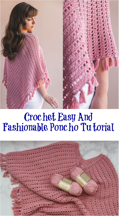 Crochet tweed under wraps poncho + tutorial | crochet poncho.