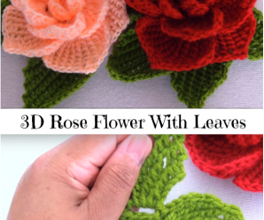 3D Rose Flower With Leaves