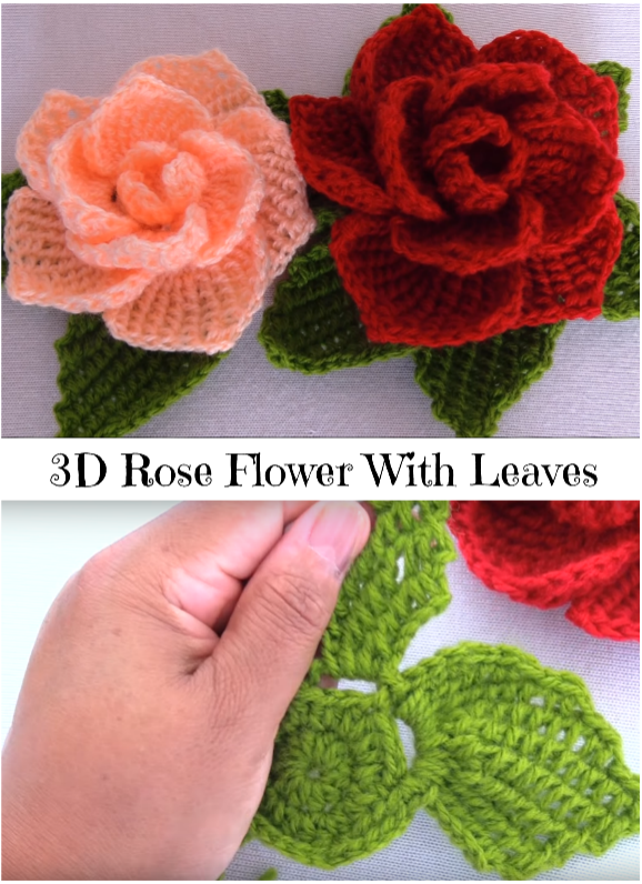 b84f1e35994 3D Rose Flower With Leaves - Crochet Ideas