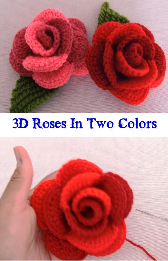 2e2dc4f8a92 3D Roses In Two Colors - Crochet Ideas