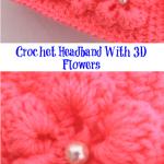 Crochet Headband With 3D Flowers