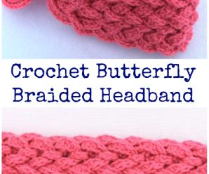 Crochet Butterfly Braided Headband