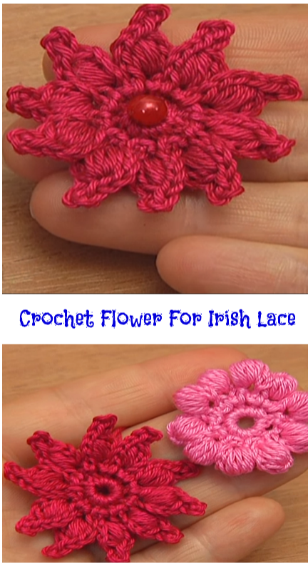 crochet flower for Irish lace