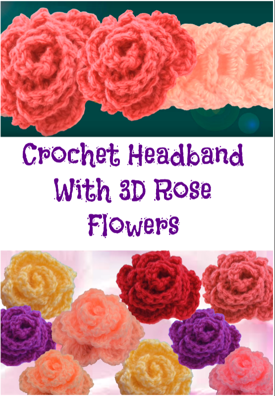 headband with 3d rose flower