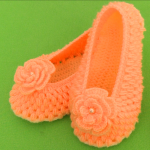 Crochet Slippers With Flower All Sizes