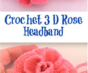 Crochet 3 D Rose Headband
