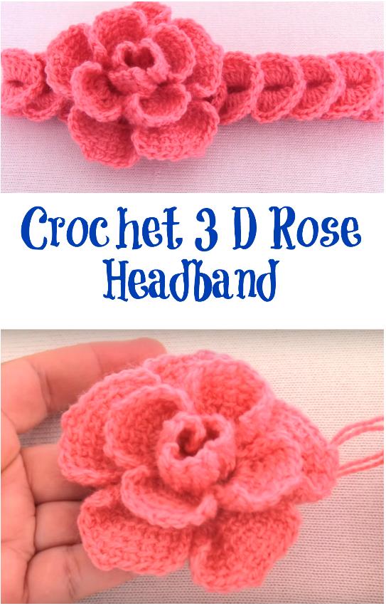 3d rose headband