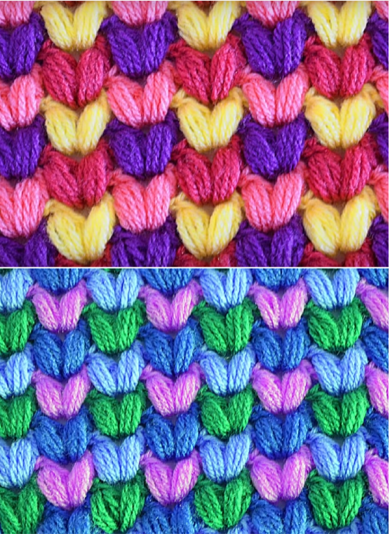 colorful puff stitch