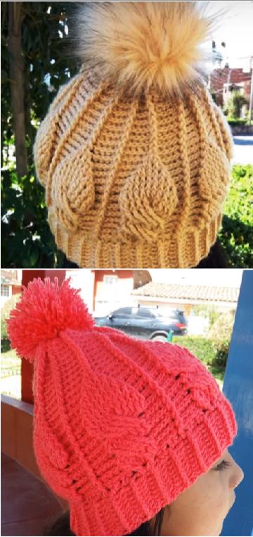 pompom stitch hat