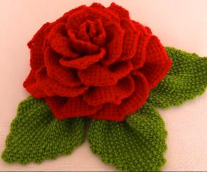 Crochet 3 D Flower With Leaves
