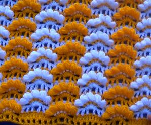 Crochet Fan Point Stitch For Baby Blanket