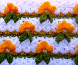 Crochet Star Stitch Combined With Flower Stitch