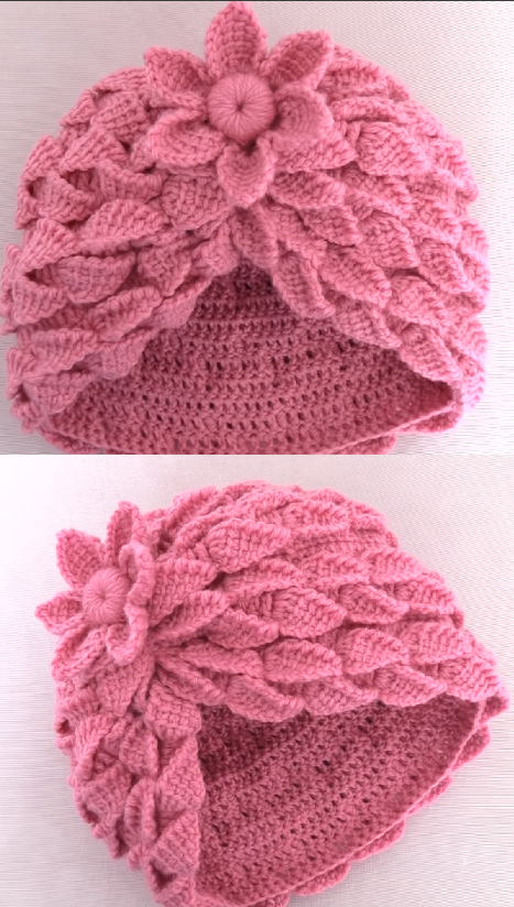 Crochet Hat With Leaf Braids Crochet Ideas