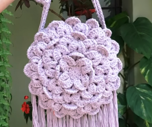 Crochet Crocodile Stitch Round Bag