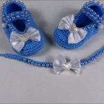Crochet Baby Shoes And Headband Set