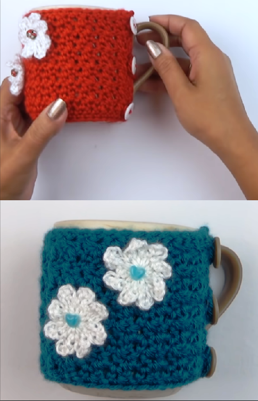 crochet cozy cup cover