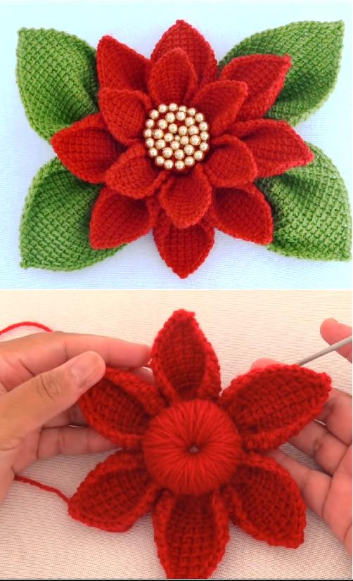 crochet poinsttia flower