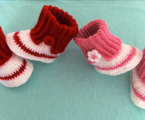 Crochet Baby Shoes With Little Flower