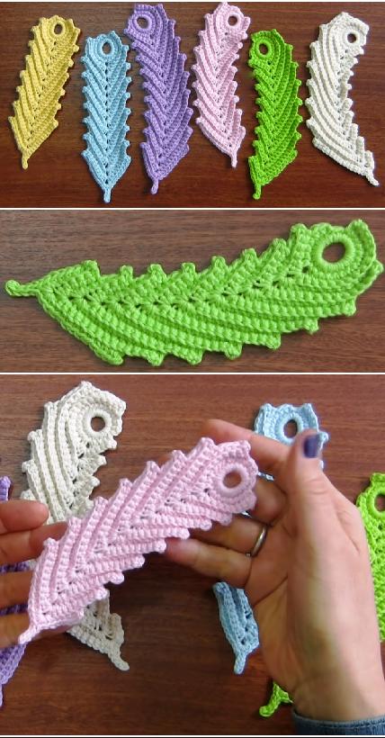 crochet reversible feather