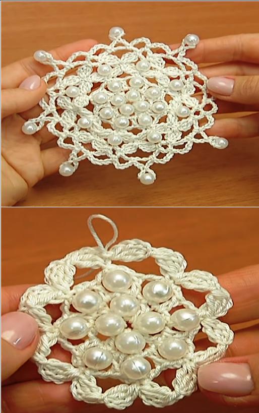 crochet round snowflake
