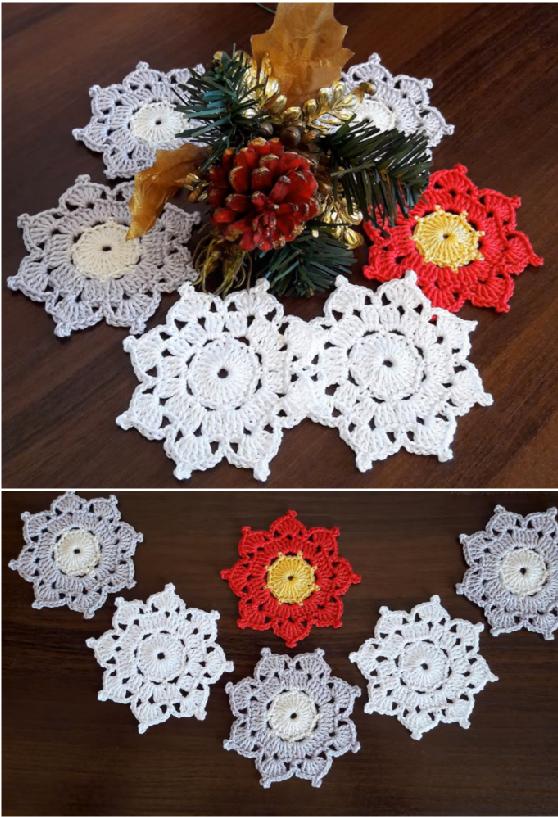 crochet snowflake ornamnet