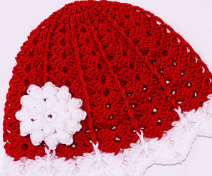 Crochet Christmas Hat With Flower