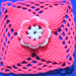 Crochet Granny Square With Leaves And Flowers