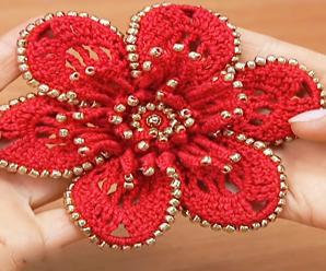 Crochet Beautiful Flower Applique
