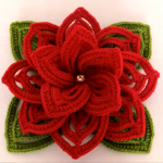 Crochet 3 D Flower With Leaves