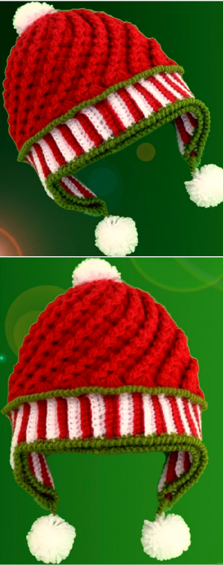Crochet 3 D Beanie Hat For Christmas
