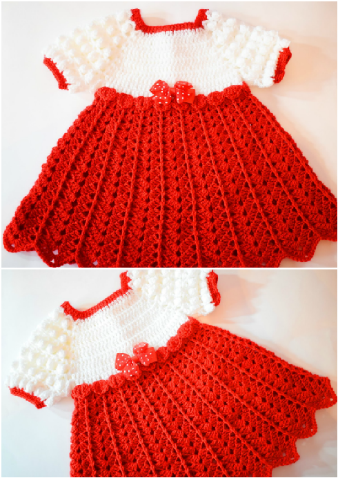 Crochet Baby Dress For Christmas